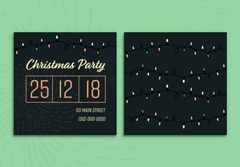 Square Christmas Party Card Layout with Lights