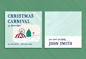 Square Christmas Party Card Layout with an Illustrated Outdoor Scene
