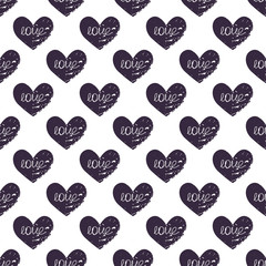 eamless pattern with grunge hearts