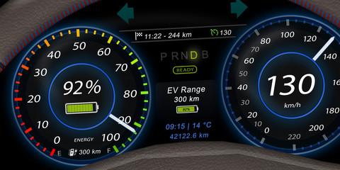 ecd1 ElectricCarDashboard ecd - german: Elektroauto - Armaturenbrett / Kombiinstrument - Tempomat mit Tempo 130 - english: adaptive cruise control - speed limit 130 - 2to1 - g5593