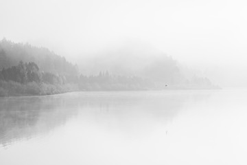 Black and White fine art lake with fog