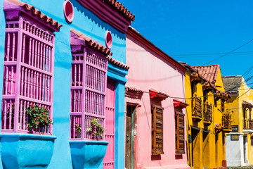 Foto auf Acrylglas Südamerikanisches Land Colorful streets of Getsemani aera of Cartagena de los indias Bolivar in Colombia South America