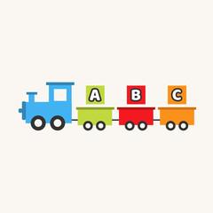 ABC train toy. Cartoon train. Children's toy. Train with blocks. Vector stock.