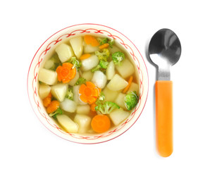 Bowl of delicious baby soup, isolated on white