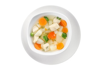 Plate of delicious baby soup, isolated on white