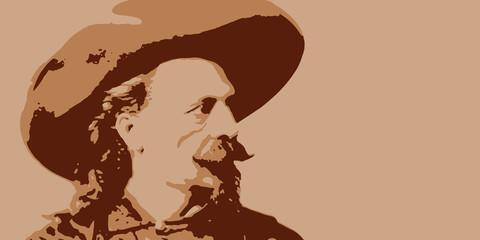 Buffalo Bill - cowboy - bison - américain - fond -western - héros - symbole