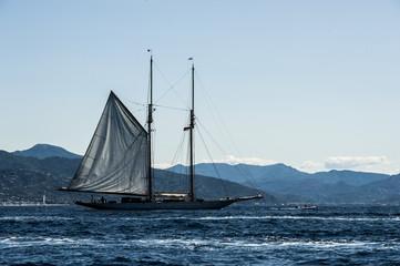 a wonderful ancient sailboat sailing in the Mediterranean Sea