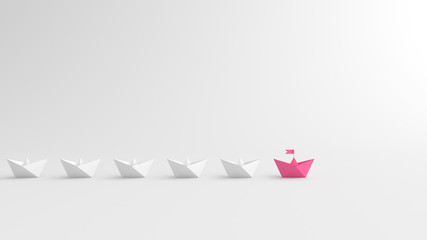 Woman leadership concept, pink leader boat leading whites. 3D Rendering