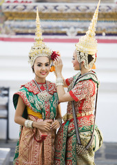 Two traditional Thai Dancers. Thailand.