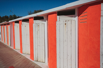 Colorful Cabin  beach huts in Rimini, Adriatic sea, Italy.