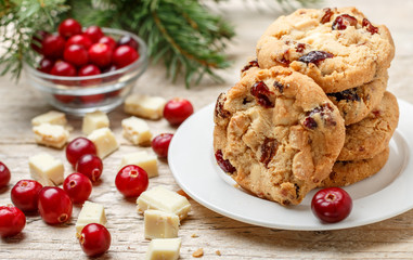 Self adhesive Wall Murals Cookies Homemade Christmas cranberry cookies with white chocolate in a bowl on the table. Rustic style. Selective focus