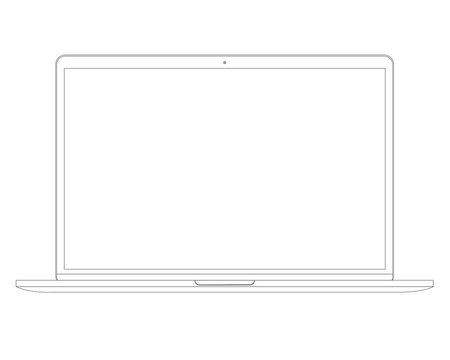 Vector illustration in line style Laptop Computer PC with space for your message on white screen.