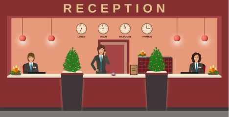 Reception service. Hotel employees welcome guests on their workplace with christmas design.