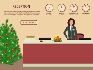 Hotel reception desk with standing employee and christmas design. Xmas holiday reception service.