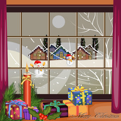 Snowman for Merry Christmas and Happy New Year Holiday celebration background