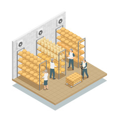 Cheese Fabric Storage Isometric Composition