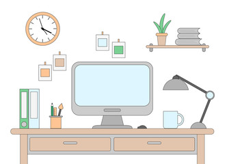 Vector illustration of desk with a computer. Workplace in office or at home drawn in flat style.