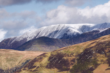 Snow covered mountains in the Derwent Fells above Buttermere in the English Lake District