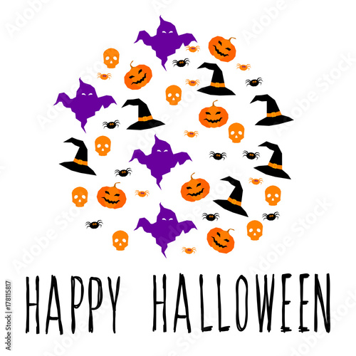happy halloween card template abstract halloween pattern for design