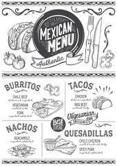 Mexican menu restaurant, food template.