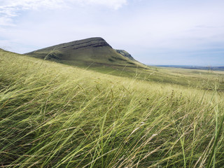 Grassland on mountains in autumn. A state of tranquility.