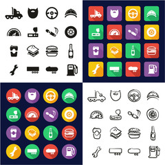 Truck Driver All in One Icons Black & White Color Flat Design Freehand Set