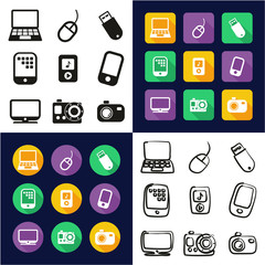 Technology All in One Icons Black & White Color Flat Design Freehand Set