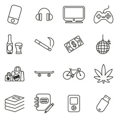 Teenager or Adolescent Icons Thin Line Vector Illustration Set