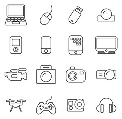 Technology or Multimedia or Gadget Icons Thin Line Vector Illustration Set