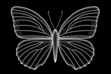 Illustration of a florescent butterfly isolated on a black background.