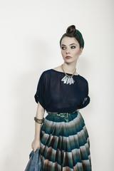 Fashion Portrait of Young Woman Fashionista