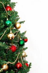 glass ball and decorations on Christmas tree