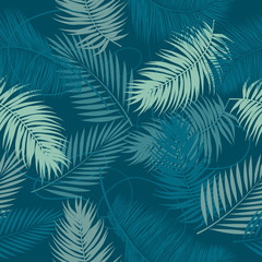 Seamless vector pattern tropical leaves of palm tree.