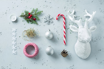 Christmas decorations on grey - winter mood board