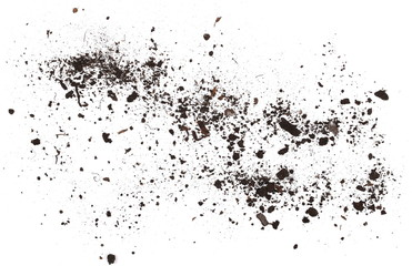 Dirt, soil pile isolated on white background, top view