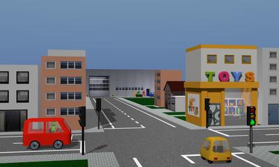 Stadt mit Häusern, Spielzeuggeschäft, Firma und Straßenkreuzung mit Ampel und Autos