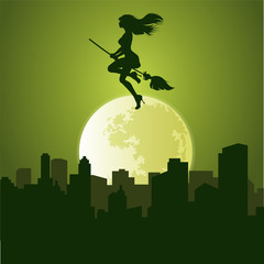 Vector witch halloween over the city