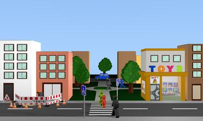 Stadtansicht von vorne mit Fußgängerüberweg