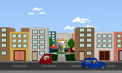 Stadtansicht von vorne mit Blick auf Park