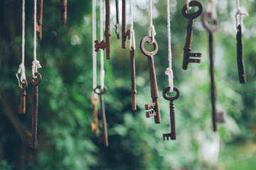 Antique keys hanging outdoors.