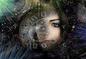 Woman ,Universe and zodiac signs