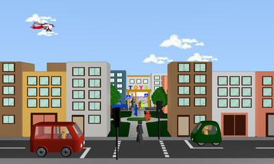 Stadtansicht von vorne mit Fußgängerampel und Blick auf Park