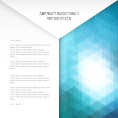 Abstract background with geometric patterns. Overlay of white sheets of paper.