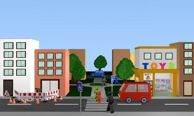 Stadtansicht von vorne mit Fußgängerüberweg und Autos