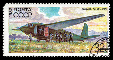 "A stamp printed in USSR (Russia) shows Soviet military glider Gr-29, from the series ""History of the Soviet Gliding"", circa 1982"