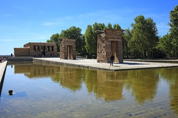 Ancient Egyptian Temple of Debod in Parque del Oeste of Madid, Spain