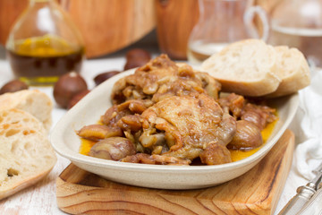 chicken with chestnuts on dish