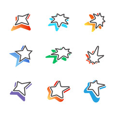 Star signs with colorful shadows / Star signs for logotypes with four, five and seven rays