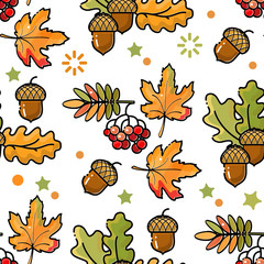 Seamless pattern with acorns, leaves and berries.