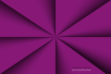 Purple triangles background with shadows, violet papers vector template, modern pattern